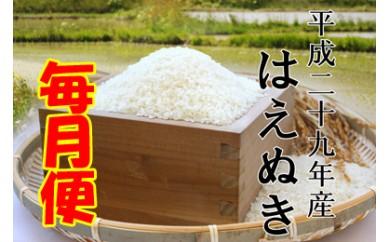 平成29年産米 鮭川産「はえぬき」毎月お届け便