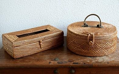 バリ島発アタ製品 真鍮取っ手・リボン付き丸型バスケット&ティッシュBOX
