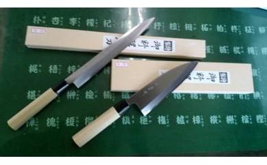 岐阜県の伝統関の刃物『七宗町』モデル(刺身240mm・出刃165mm)カスミ研ぎ2本セット