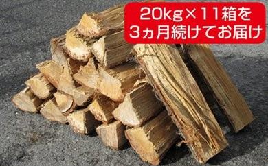 [№4631-1232]森のちから【五名の薪】20kg×11箱×3ヶ月=660kg