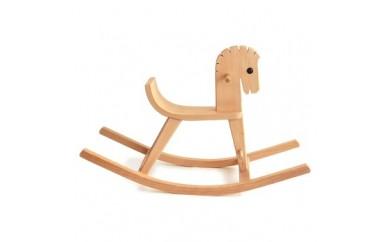 I002.木のおもちゃ.ドイツ.ケラー社の木馬(白木)