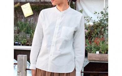 [№5786-1792]HUIS遠州織物バンドカラーコットンシャツ