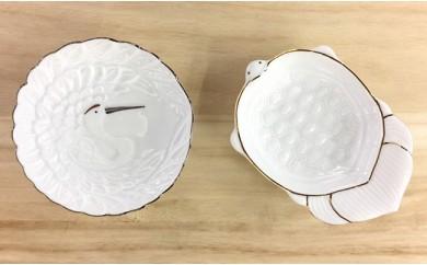 A15-18 金・プラチナ鶴亀小皿セット 西富陶磁器