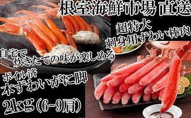 CB-14023 根室海鮮市場<直送>刺身用ずわいがに棒肉500g、本ずわいがに脚2kg[419788]
