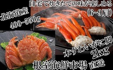 CB-14025 根室海鮮市場<直送>浜茹で毛がに1尾、本ずわいがに脚2kg[419790]