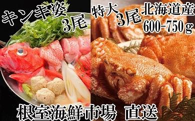 CC-14014 根室海鮮市場<直送>北海道産毛がに3尾、鍋用キンキ(めんめ)3尾[419802]