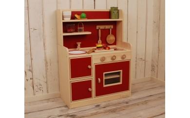 【家具職人手作り】ままごとキッチン「DXハイタイプ」 (レッド)   30-0857