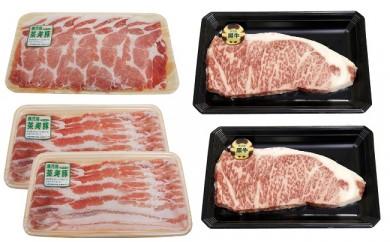D-029 【JA:A5等級】鹿児島黒牛サーロインステーキ2枚・茶美豚しゃぶしゃぶセット(1,300g)<E-1501>