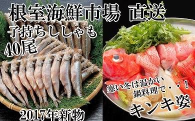 CD-22029 根室海鮮市場<直送>キンキ(めんめ)1尾、子持ししゃも40尾[422433]