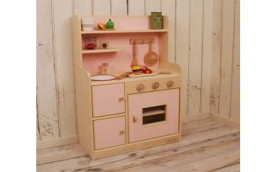 【家具職人手作り】ままごとキッチン「DXハイタイプ」(ピンク)【36000pt】 30-0858