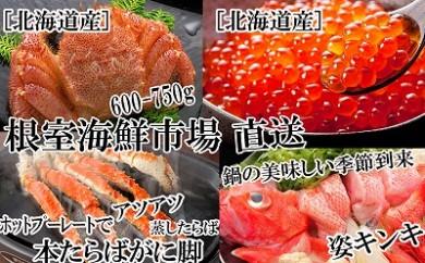 CC-22014 根室海鮮市場<直送>キンキ(めんめ)、いくら醤油漬け、本たらばがに脚、毛がに[422420]