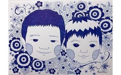 【ペン画】オリジナルペン画の似顔絵2名まで(ペット2匹可)