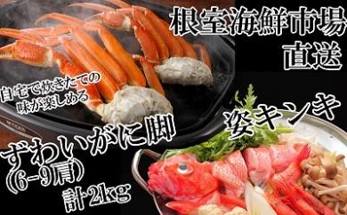 CB-22019 根室海鮮市場<直送>キンキ(めんめ)1尾、ボイルずわいがに2kg[422404]