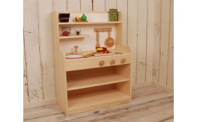 【家具職人手作り】木製ままごとキッチン ノーマルハイタイプ (ホワイト)   30-0854