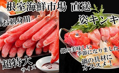CD-22026 根室海鮮市場<直送>キンキ(めんめ)1尾、刺身用ずわいがに棒肉500g[422430]