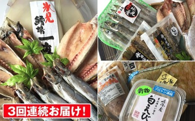 [№5684-1222]新3回連続お届け!氷見産きときと魚一夜干し・富山の名産しろえび入り!