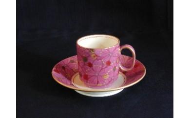 e_01 桑名ロッコク窯 琺瑯腥臙脂金彩 桜花文cafe碗皿 1客