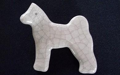 30P6601 秋田犬の箸置き4個セット(氷裂貫入釉)【30P】
