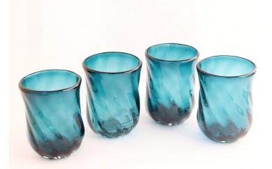 AZ09 沖縄県認定工芸士制作  琉球ガラス  GlassStudio尋  モールグラス  カチガエシ    4個セット 【30000pt】