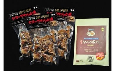 11-1 飛騨納豆喰豚なん骨のやわらか煮と飛騨納豆喰豚カレーセット