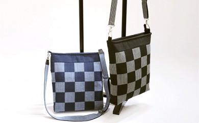 [№5922-0374]「やまのべの木綿」パッチワークショルダーバッグ(黒/紺)