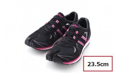 BS84 【23.5cm】走りに特化した足袋型ランニングシューズ「Zipang」ブラック/ピンク