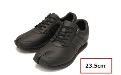 BS37 【23.5cm】足に優しい足袋型シューズ「Lafeet」レザー・ブラック