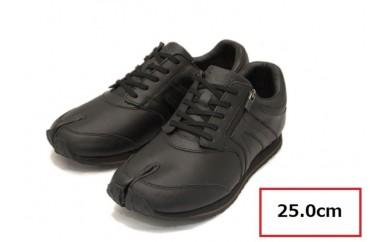 BS40 【25.0cm】足に優しい足袋型シューズ「Lafeet」レザー・ブラック