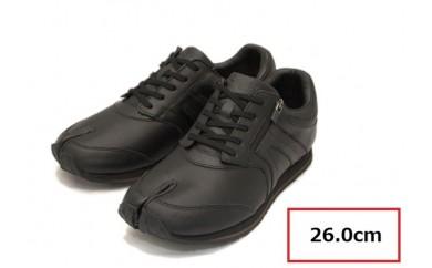BS42 【26.0cm】足に優しい足袋型シューズ「Lafeet」レザー・ブラック