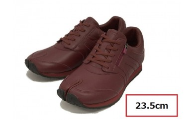 BS54 【23.5cm】足に優しい足袋型シューズ「Lafeet」レザー・ワイン