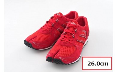 BS65 【26.0cm】走りに特化した足袋型ランニングシューズ「Zipang」レッド