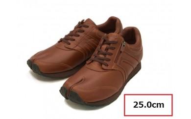 BS29 【25.0cm】足に優しい足袋型シューズ「Lafeet」レザー・ブラウン