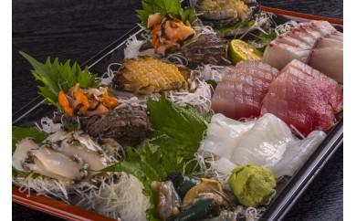 UO-⑭ アワビと地魚の盛合わせ(刺身)