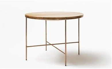 O2-001 【FIL】MASS Series 900Round Table-Natural Wood & Copper Frame