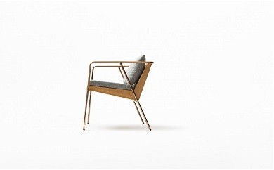 N5-002 【FIL】MASS Series Dining Chair-Natural Wood & Copper Frame