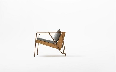 O2-002 【FIL】MASS Series Lounge Chair-Natural Wood & Copper Frame