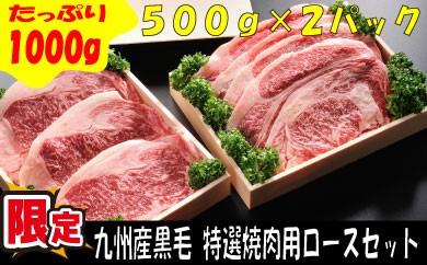 X007.九州産黒毛和牛!特選焼肉用ロースセット【1000g】