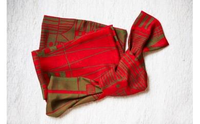 B30-615 袋ストール(街)/赤×緑