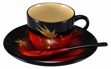 輪島塗 コーヒーカップ(曙紅葉蒔絵)