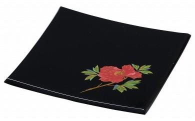 輪島塗 角皿(小、牡丹蒔絵)