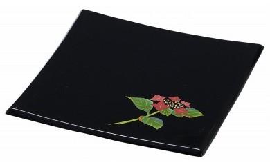 輪島塗 角皿(小、紫陽花蒔絵)