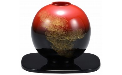 輪島塗 丸花器(昇陽松沈金)