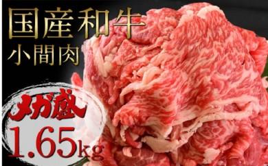 [№5931-0081]国産和牛 小間肉 メガ盛り1.65kg