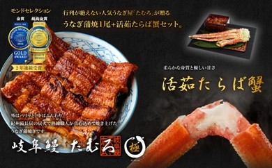 岐阜鰻たむろ極うなぎ蒲焼1尾+活茹たらば蟹セット