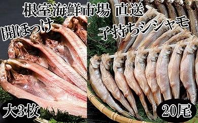 CA-22044 【北海道根室産】根室海鮮市場<直送>一夜干し開ほっけ3枚、子持ちししゃも20尾[431797]