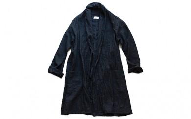 [№5786-1803]HUIS遠州織物ウォッシャブルウールロングカーディガン・黒