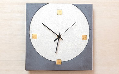 C4-06 【宝寿窯】陶器ファッション壁掛時計 No.4【グレー】