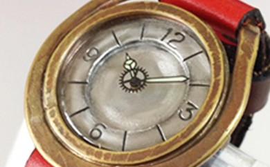 [№5895-0099]HR24の手造り時計A(男女兼用)こげ茶