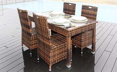 バリ&アロハ シンセティックラタン製 ダイニングテーブル&チェア4脚