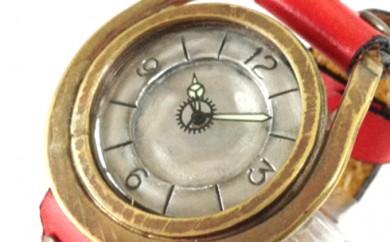 [№5895-0098]HR24の手造り時計A(男女兼用)黄茶(からし色)